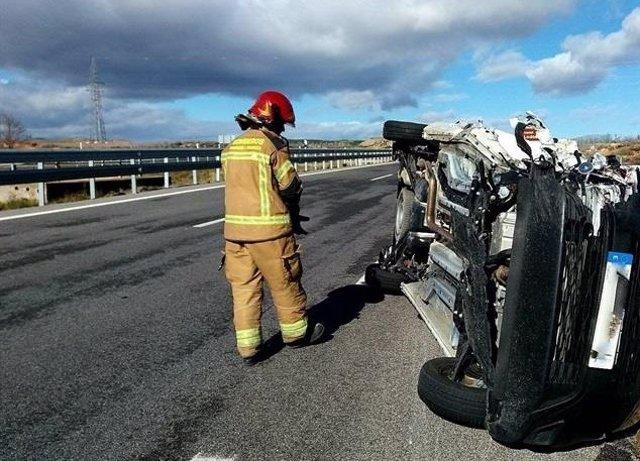 Accidente de tráfico en la AP-68 a la altura de Mallén