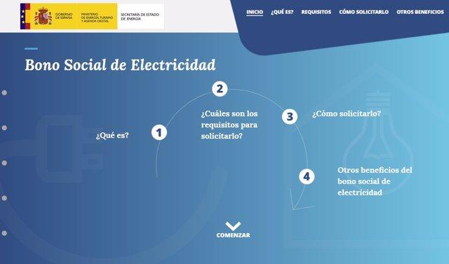 Página del Ministerio de Energía sobre el nuevo bono social