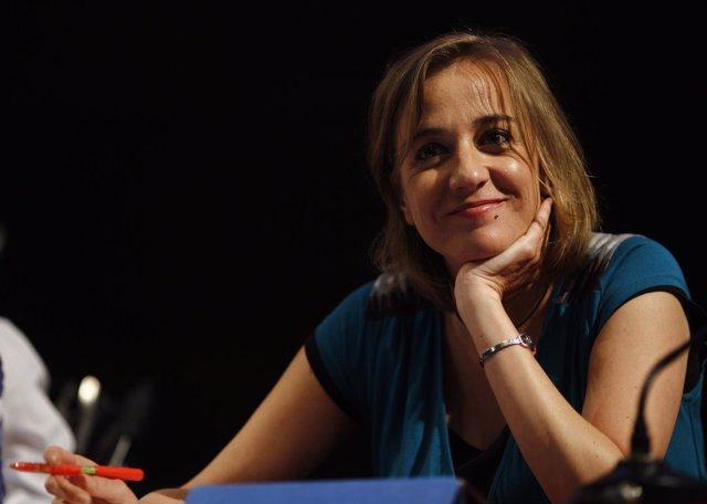 Tania Sánchez en un acto de Podemos