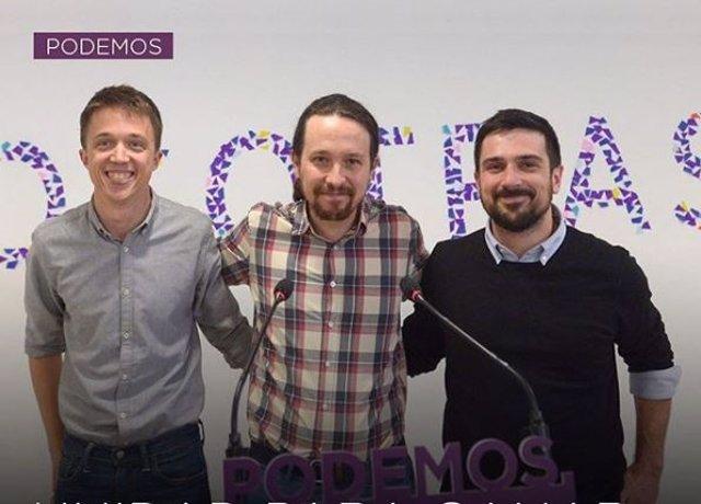 Iñigo Errejón, Pablo Iglesias, Ramón Espinar en la sede de Podemos