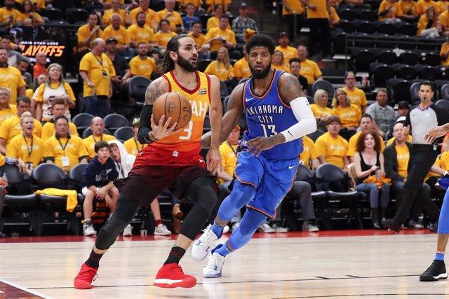 Utah Jazz Ricky Rubio Paul George Oklahoma City Thunder