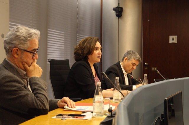 Josep Maria Montaner, Ada Colau y Javier Buron