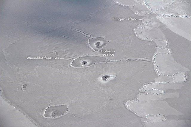 Insólitos agujeros en el hielo vistos en el Mar de Beaufort