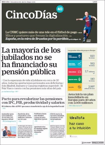 Las portadas de los periódicos económicos de hoy, miércoles 25 de abril