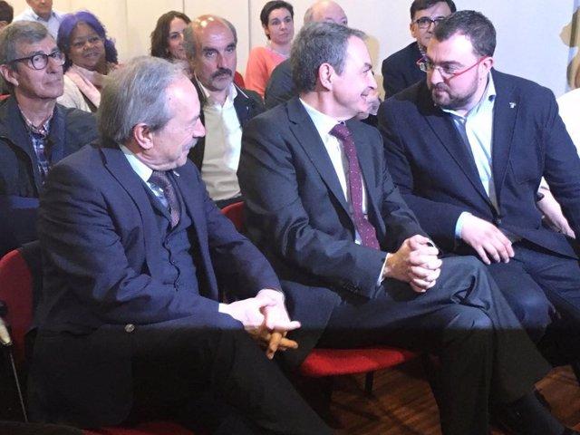Wenceslao López, Rodríguez Zapatero y Adrián Barbón
