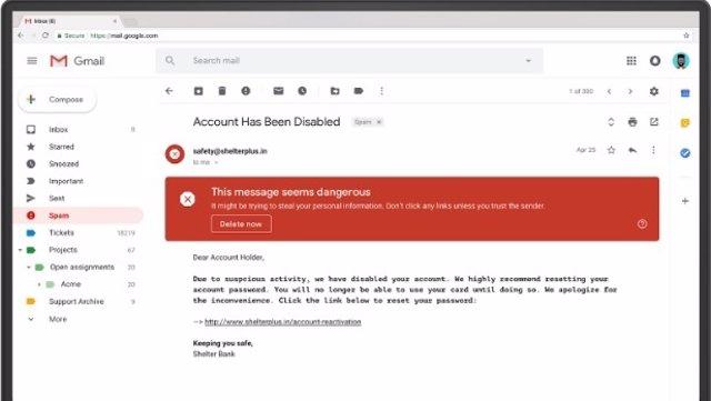 Nuevo aviso de seguridad en Gmail