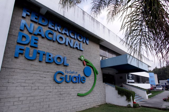The facade of the Guatemala's soccer federation (Fedefut) building is pictured i
