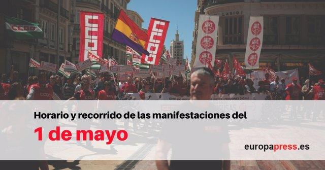 Horario y recorrido de las manifestaciones del 1 de mayo, Día del Trabajador