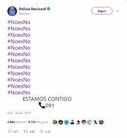 Captura pantalla tweet Policía Nacional