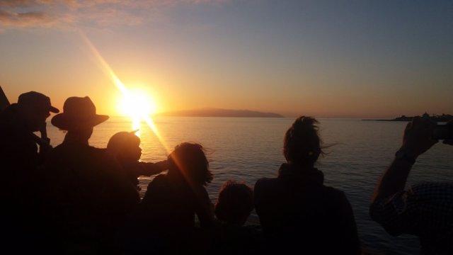 Turistas camino de La Gomera