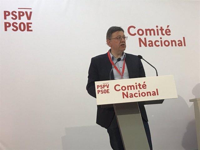 El secretario general del PSPV, Ximo Puig, en el Comité Nacional