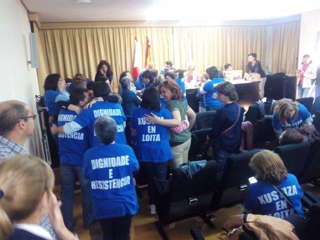 Funcionarios de justiica en la asamblea de Vigo