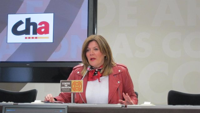 La diputada de CHA, Carmen Martínez Romances, en las Cortes de Aragón.