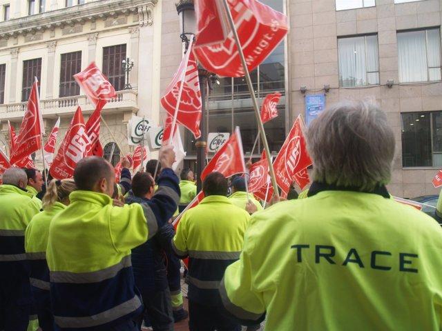 Protesta de trabajadores de Trace en Ceuta