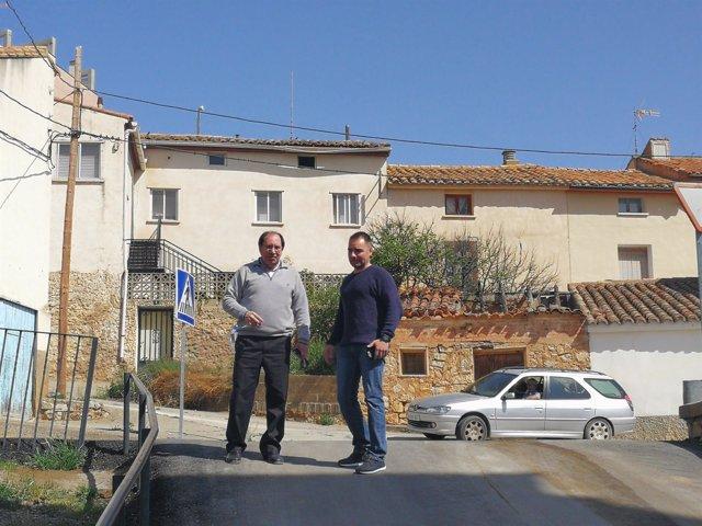 Visita de Julio Esteban al barrio de San Blas, en Teruel.
