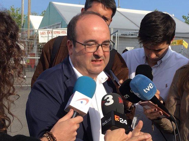 El primer secretario del PSC, Miquel Iceta, en la Feria de Abril de Barcelona