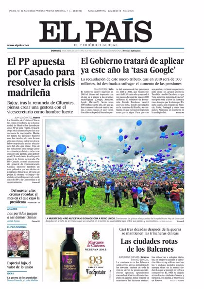 Las portadas de los periódicos de hoy, domingo 29 de abril de 2018