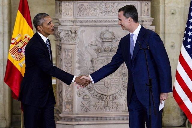 Barack Obama y el Rey Felipe VI en julio de 2016 en el Palacio Real de Madrid