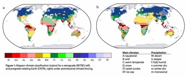 Efectos de la simulación de cambio en la dirección de rotación terrestre