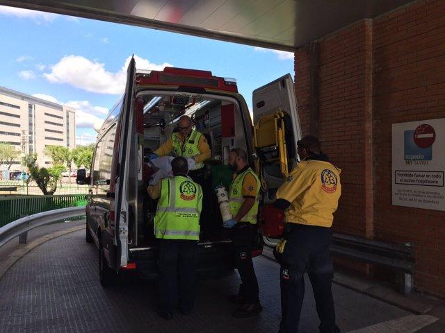El herido llega al hospital
