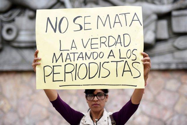 Cartel por la libertad de prensa en Veracruz (México)