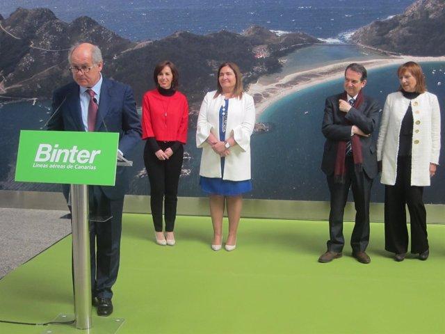 Inauguración de la ruta Vigo-Canarias, de Binter