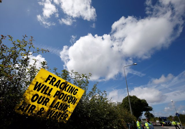 An anti-fracking sign is seen outside Cuadrilla's Preston New Road fracking site