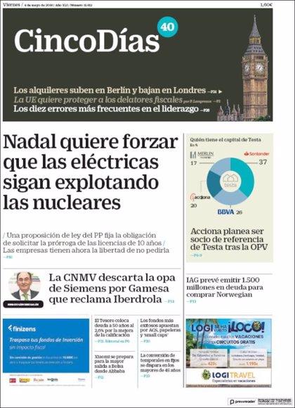 Las portadas de los periódicos económicos de hoy, vienes 5 de marzo