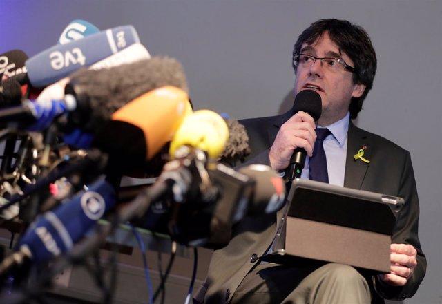 Rueda de prensa de Puigdemont en Berlín