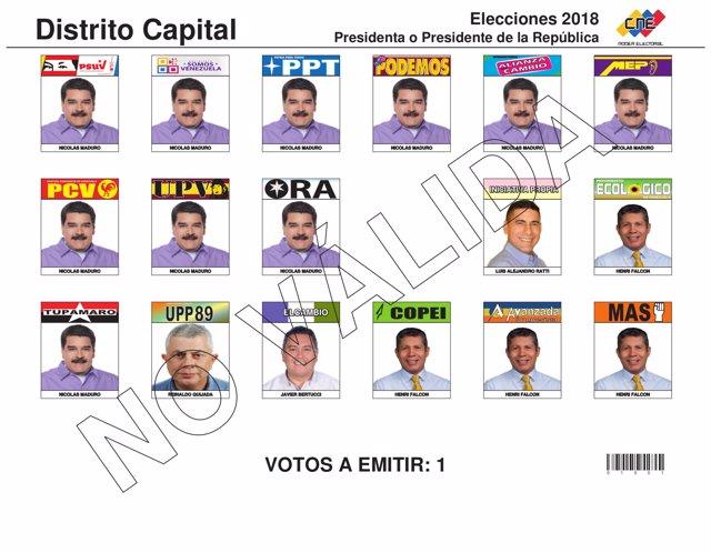 Tarjetón electoral Venezuela 2018