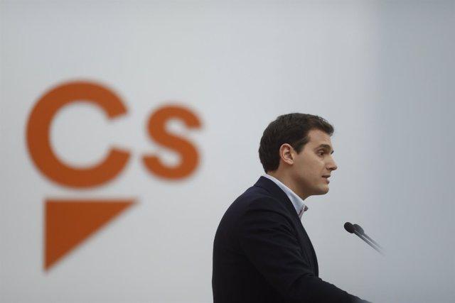 Rueda de prensa del líder de Ciudadanos, Albert Rivera, en la sede del partido