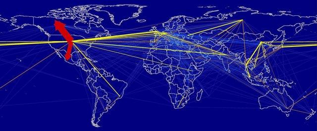 Huella de carbono del tráfico aéreo mundial
