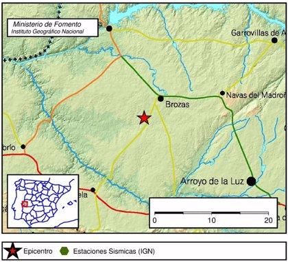 Brozas registra un terremoto de 1,6 grados en la escala Richter