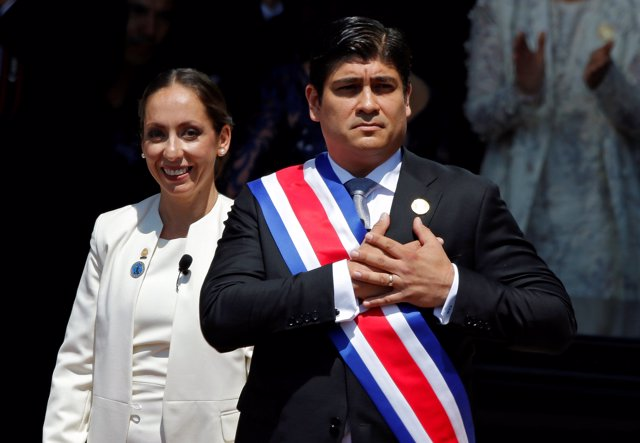 Costa Rica's President Carlos Alvarado Quesada acknowledges the audience after h