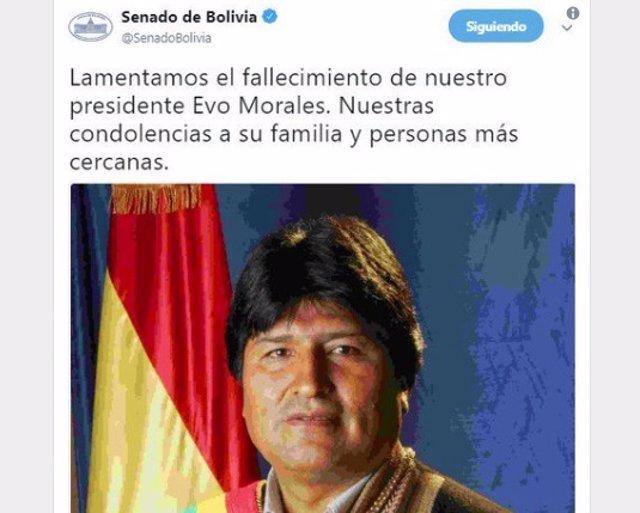 Falso tuit sobre Morales
