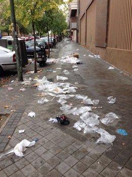 Efectos de la huelga de limpieza viaria en el barrio de Chamartín