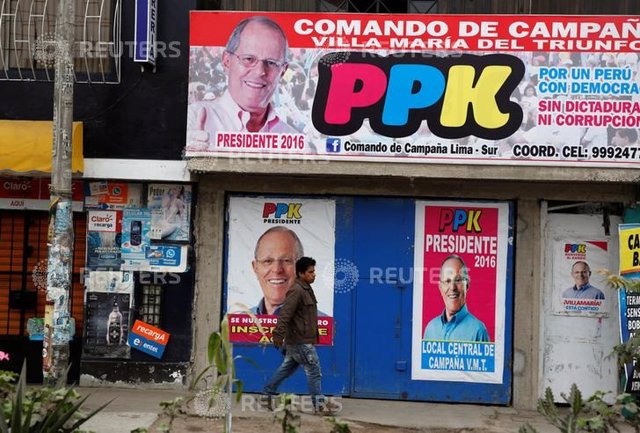 Electoral signs of Peru's presidential candidate Pedro Pablo Kuczynski of 'Perua