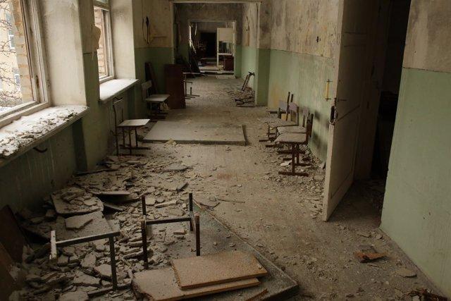 Escuela destruida en Ucrania