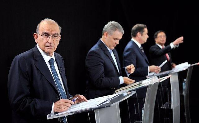 Colombian presidential candidates Humberto de la Calle, Ivan Duque, German Varga