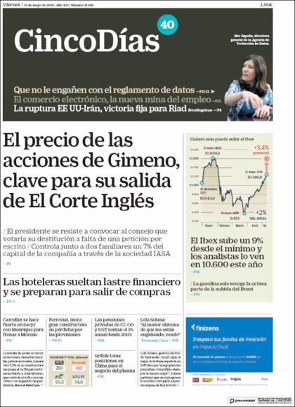 Las portadas de los periódicos económicos de hoy, viernes 11 de mayo
