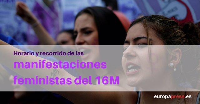 Horario y recorrido de las manifestaciones feministas del 16 de mayo en España