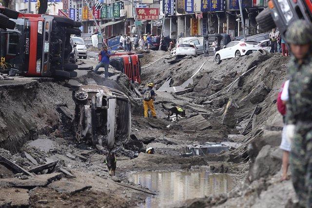 Explosiones de gas en la localidad de Kaohsiung, Taiwán