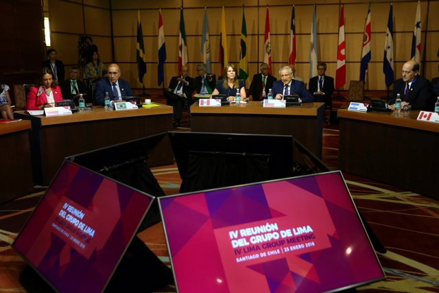 Members of the Lima Group nations attend a meeting in Santiago, Chile, January 2