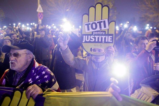 Manifestación en Bucarest