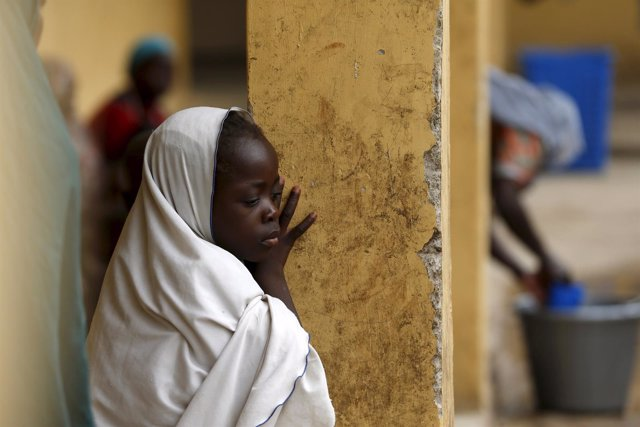Niña desplazada de Boko Haram