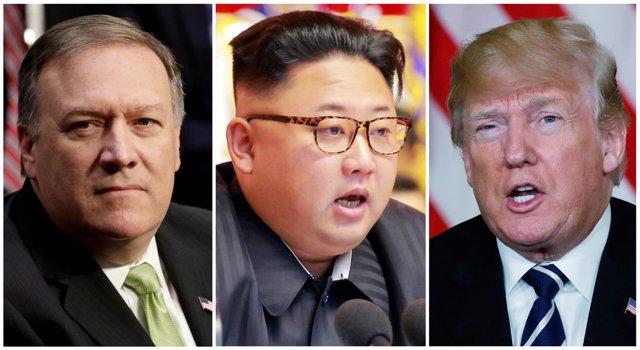 Mike Pompeo, Kim Jong Un y Donald Trump
