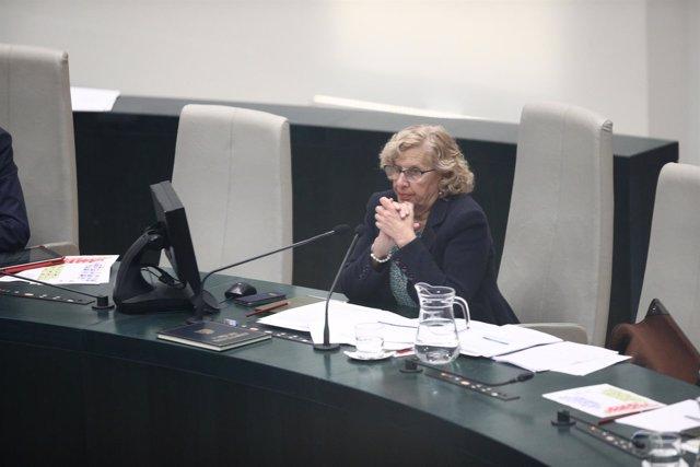 La alcaldesa de Madrid, Manuela Carmena, durante un pleno