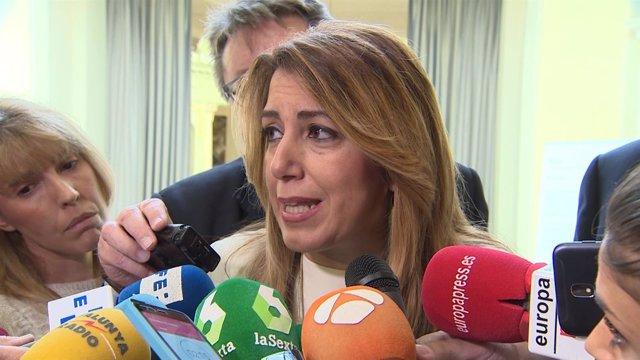 Susana Díaz en un desayuno informativo