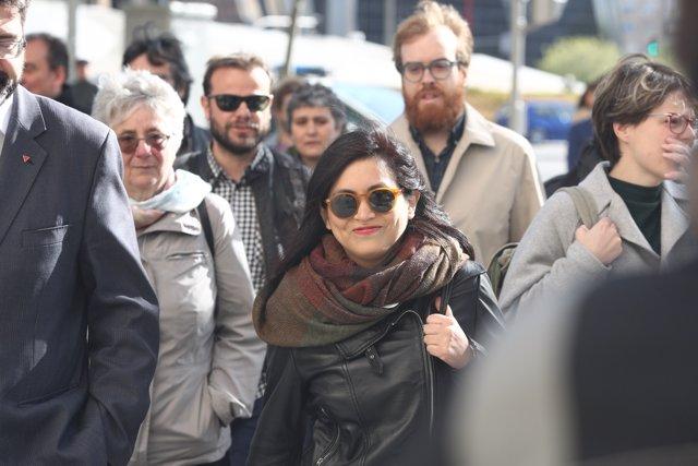 La edil de Ahora Madrid Rommy Arce llega a los juzgados de Madrid para declarar