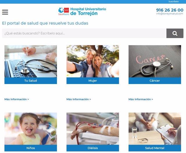 La nueva web del Hospital de Torrejón, 'SaberdeSalud'